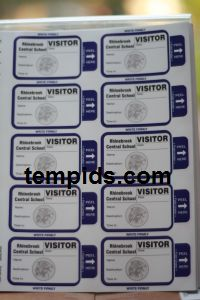 Example of School Visitor Labels self expiring